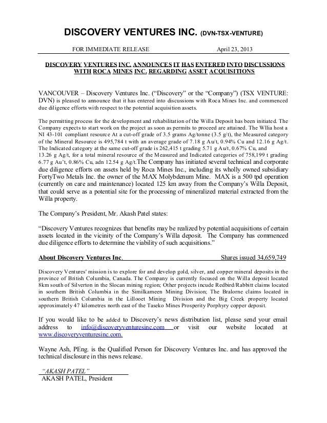 DISCOVERY VENTURES INC. (DVN-TSX-VENTURE)FOR IMMEDIATE RELEASE April 23, 2013DISCOVERY VENTURES INC. ANNOUNCES IT HAS ENTE...