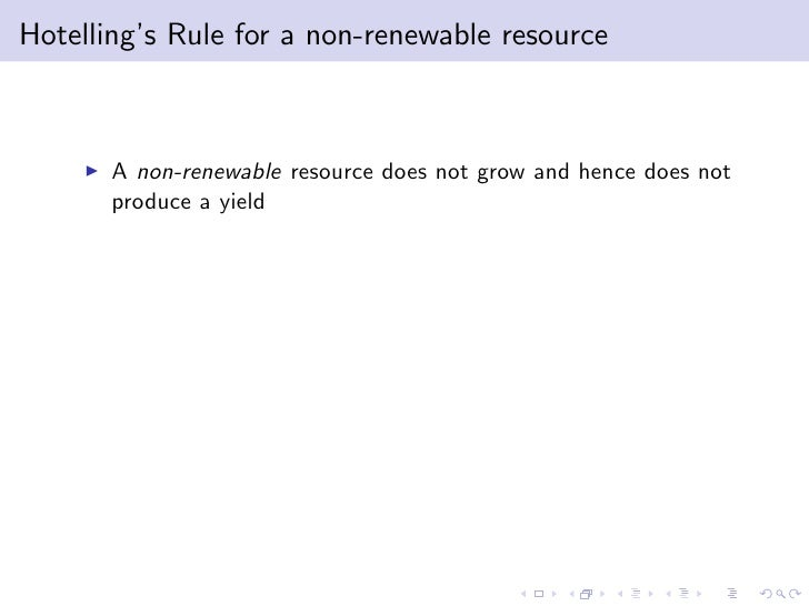Hotelling Rule Natural Resources