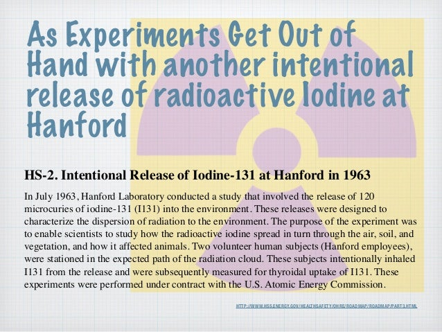 HTTP://WWW.HSS.ENERGY.GOV/HEALTHSAFETY/OHRE/ROADMAP/ROADMAP/PART3.HTML HS-2. Intentional Release of Iodine-131 at Hanford ...