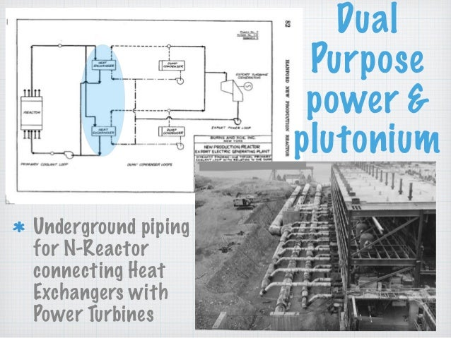 Underground piping for N-Reactor connecting Heat Exchangers with Power Turbines Dual Purpose power & plutonium