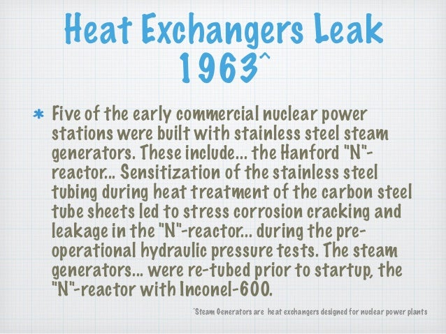 Heat Exchangers Leak 1963^ Five of the early commercial nuclear power stations were built with stainless steel steam gener...
