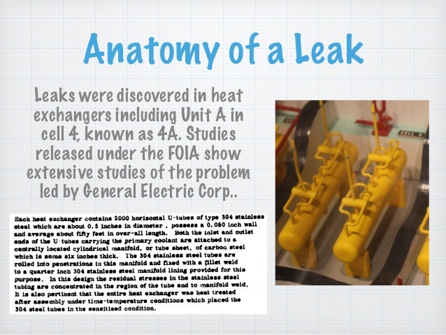 Anatomy of a Leak Leaks were discovered in heat exchangers including Unit A in cell 4, known as 4A. Studies released under...