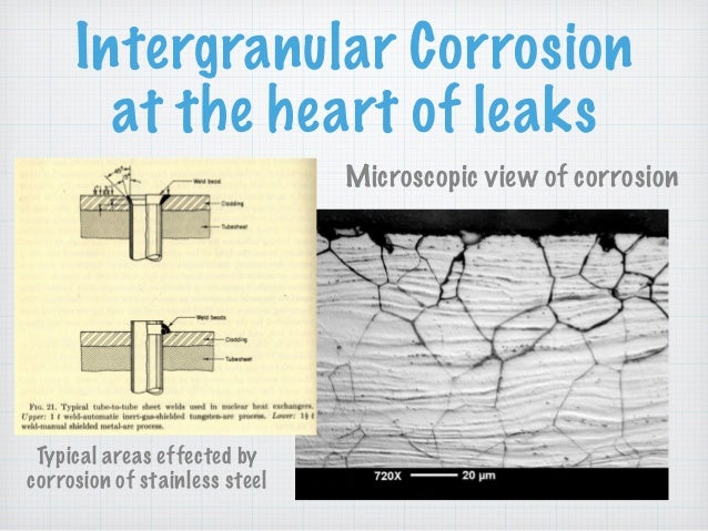 Intergranular Corrosion at the heart of leaks Microscopic view of corrosion Typical areas effected by corrosion of stainle...