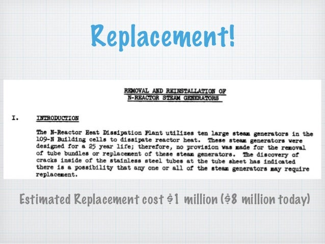 Replacement! Estimated Replacement cost $1 million ($8 million today)