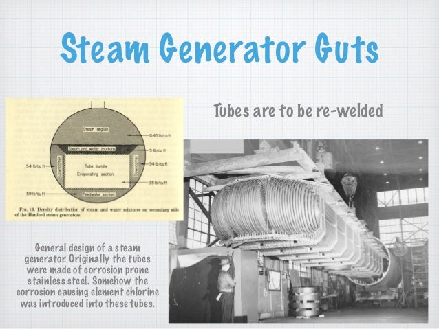 Steam Generator Guts Tubes are to be re-welded General design of a steam generator. Originally the tubes were made of corr...