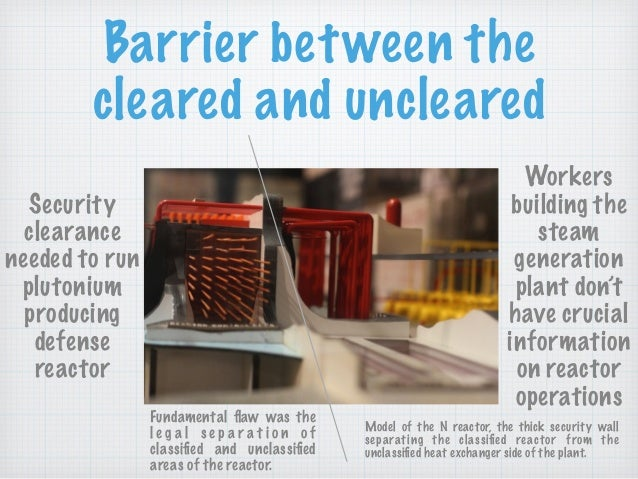 Barrier between the cleared and uncleared Security clearance needed to run plutonium producing defense reactor Workers bui...