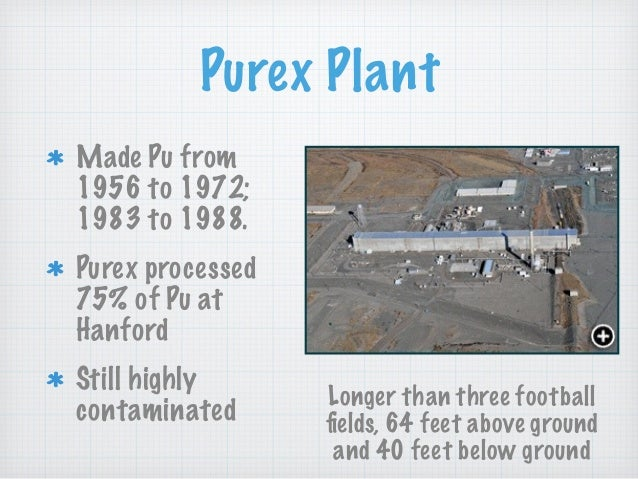Purex Plant Made Pu from 1956 to 1972; 1983 to 1988. Purex processed 75% of Pu at Hanford Still highly contaminated Longer...