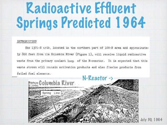 Radioactive Effluent Springs Predicted 1964 July 30, 1964 Columbia River N-Reactor ->