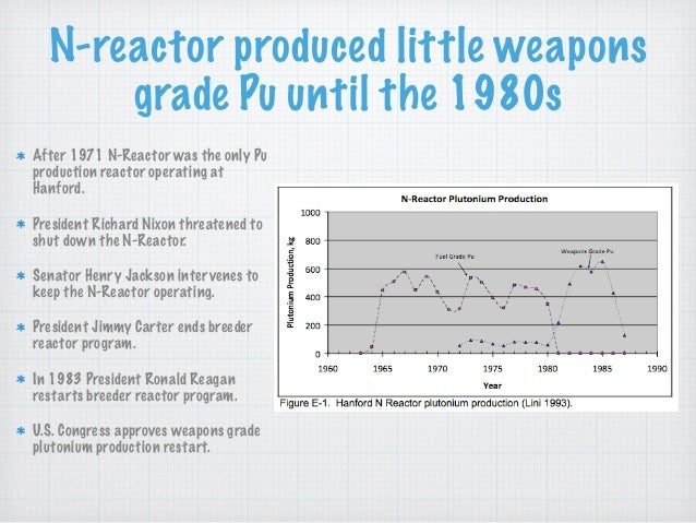 N-reactor produced little weapons grade Pu until the 1980s After 1971 N-Reactor was the only Pu production reactor operati...