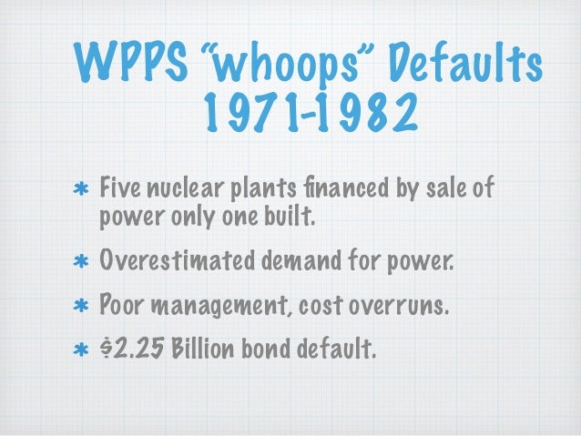 """WPPS """"whoops"""" Defaults 1971-1982 Five nuclear plants financed by sale of power only one built. Overestimated demand for pow..."""