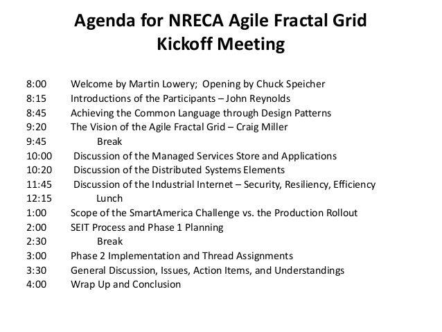 Delightful Agenda For NRECA Agile Fractal Grid Kickoff Meeting ...