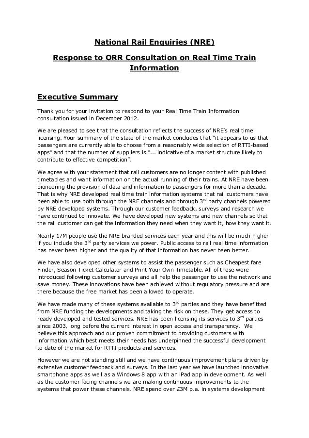 National Rail Enquiries (NRE)      Response to ORR Consultation on Real Time Train                       InformationExecut...