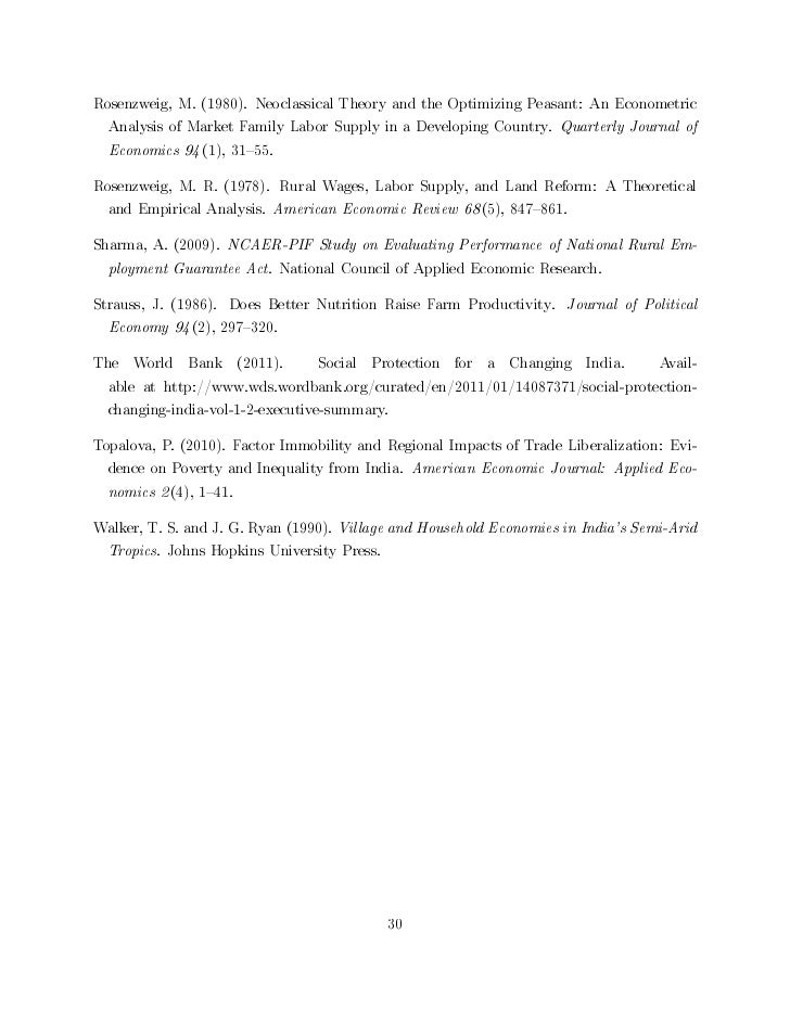Rosenzweig, M. (1980). Neoclassical Theory and the Optimizing Peasant: An Econometric  Analysis of Market Family Labor Sup...