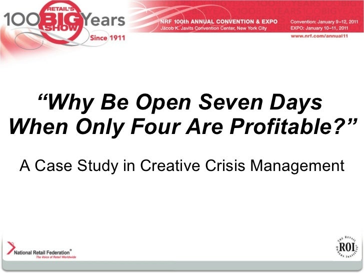 """"""" Why Be Open Seven Days  When Only Four Are Profitable?"""" A Case Study in Creative Crisis Management"""