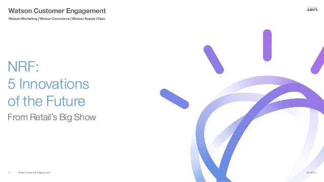 Watson Customer Engagement From Retail's Big Show NRF: 5 Innovations of the Future 1/31/20171