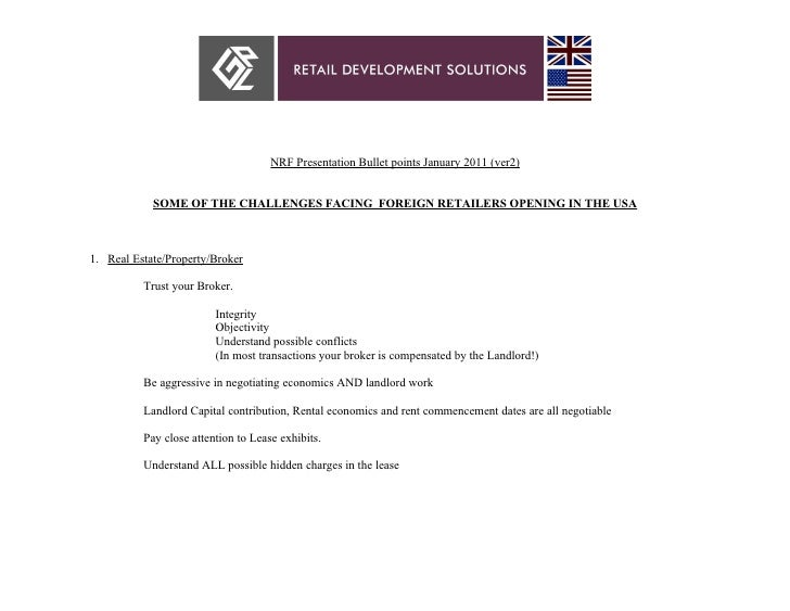 NRF Presentation Bullet points January 2011 (ver2)            SOME OF THE CHALLENGES FACING FOREIGN RETAILERS OPENING IN T...