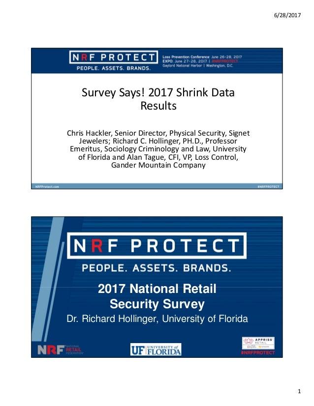 6/28/2017 1 Survey Says! 2017 Shrink Data Results Chris Hackler, Senior Director, Physical Security, Signet Jewelers; Rich...