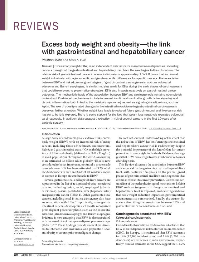 REVIEWS Excess body weight and obesity—the link with gastrointestinal and hepatobiliary cancer Prashant Kant and Mark A. H...