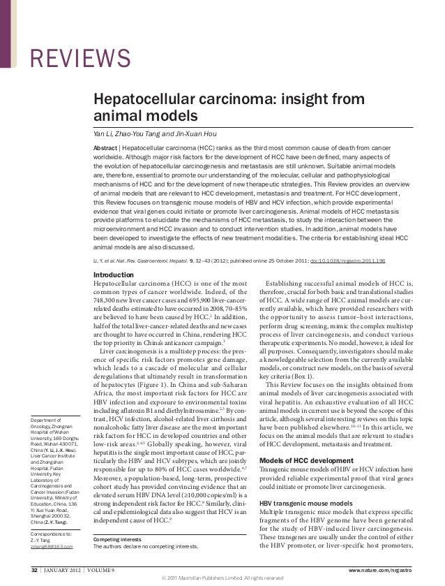 REVIEWS Hepatocellular carcinoma: insight from animal models Yan Li, Zhao-You Tang and Jin-Xuan Hou Abstract | Hepatocellu...