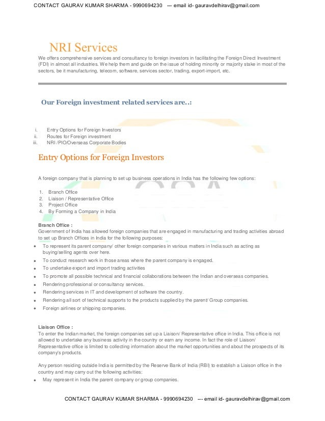 NRI Services We offers comprehensive services and consultancy to foreign investors in facilitating the Foreign Direct Inve...