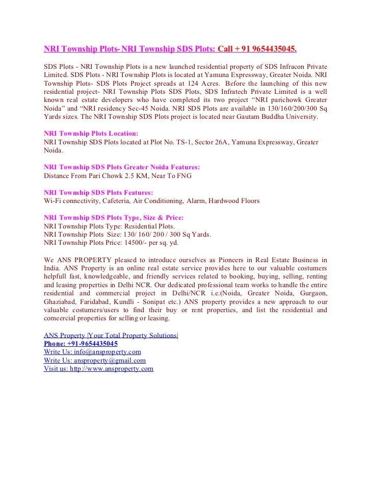 NRI Township Plots- NRI Township SDS Plots: Call + 91 9654435045.SDS Plots - NRI Township Plots is a new launched resident...