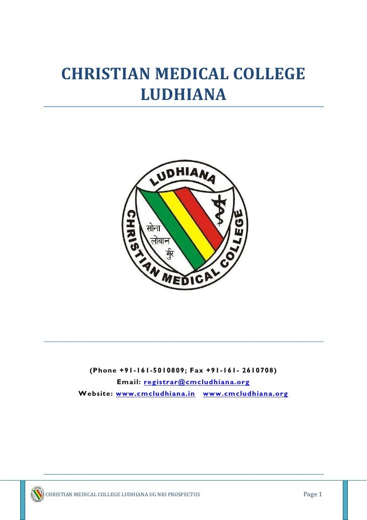 CHRISTIAN MEDICAL COLLEGE              LUDHIANA                   (Phone +91-161-5010809; Fax +91-161- 2610708)           ...