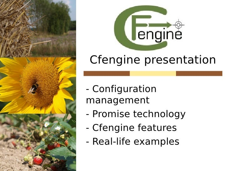 Cfengine presentation  - Configuration management - Promise technology - Cfengine features - Real-life examples