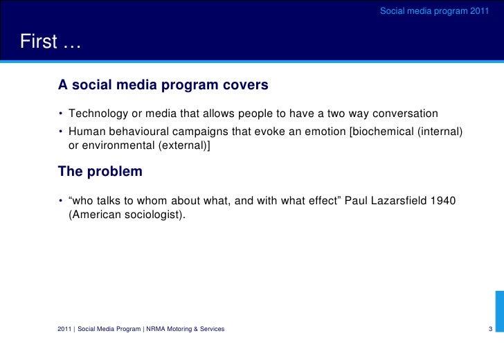 NRMA social media program Oct 2011 plus global case studies Slide 3