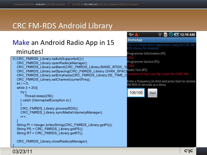 FM TwoO & CRC FM-RDS Android Library