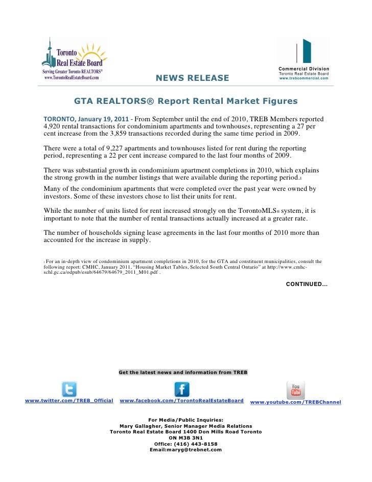 NEWS RELEASE                   GTA REALTORS® Report Rental Market Figures      TORONTO,January19,2011‐From September ...