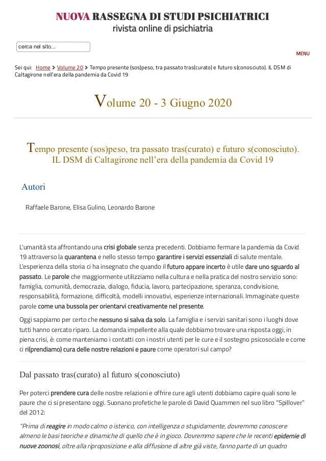 NUOVA RASSEGNA DI STUDI PSICHIATRICI rivista online di psichiatria cerca nel sito... Sei qui:  Home  Volume 20  Tempo p...