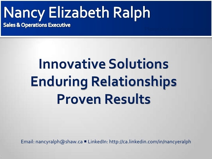 Sales & Operations Executive<br />Please click to  advance slides<br />Innovative SolutionsEnduring RelationshipsProven Re...