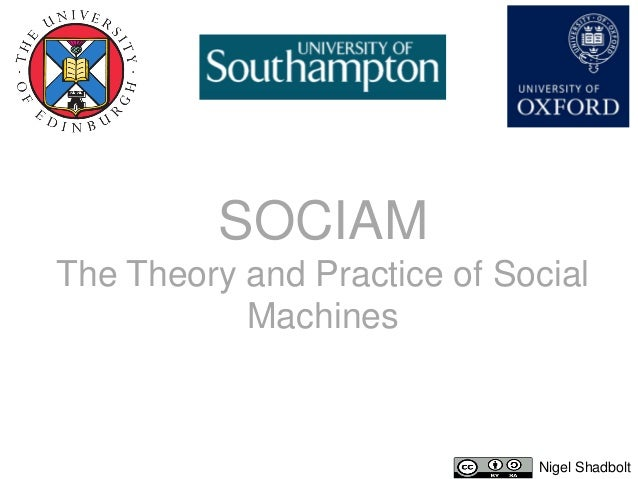 SOCIAMThe Theory and Practice of Social           Machines                             Nigel Shadbolt