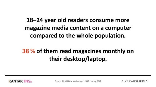Monthly Reading of Magazines in Finland, spring 2017