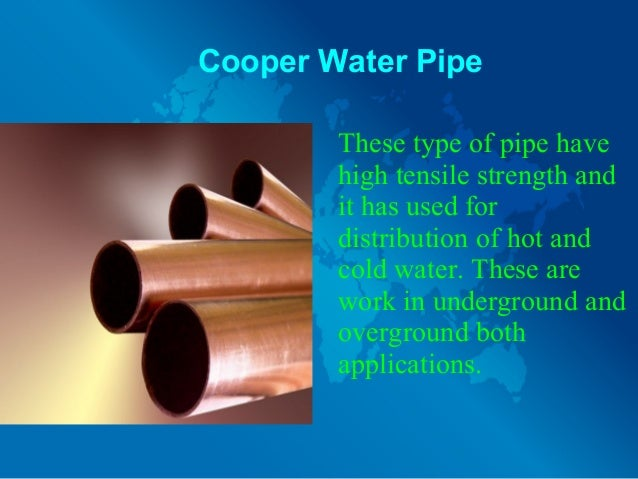 different types of water pipes and their uses