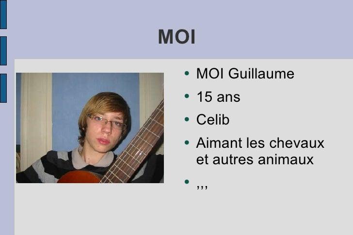 MOI <ul><li>MOI Guillaume  </li></ul><ul><li>15 ans </li></ul><ul><li>Celib </li></ul><ul><li>Aimant les chevaux et autres...