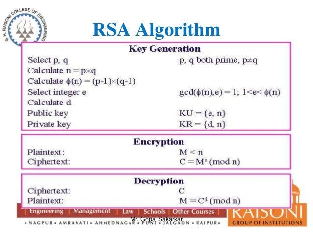 RSA Algorithm Mr. Gopal Sakarkar ...