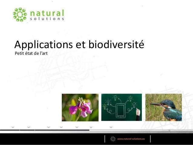 Applications et biodiversité Petit état de l'art