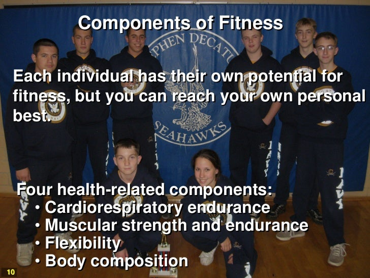 Components of FitnessEach individual has their own potential forfitness, but you can reach your own personalbest.   Four h...
