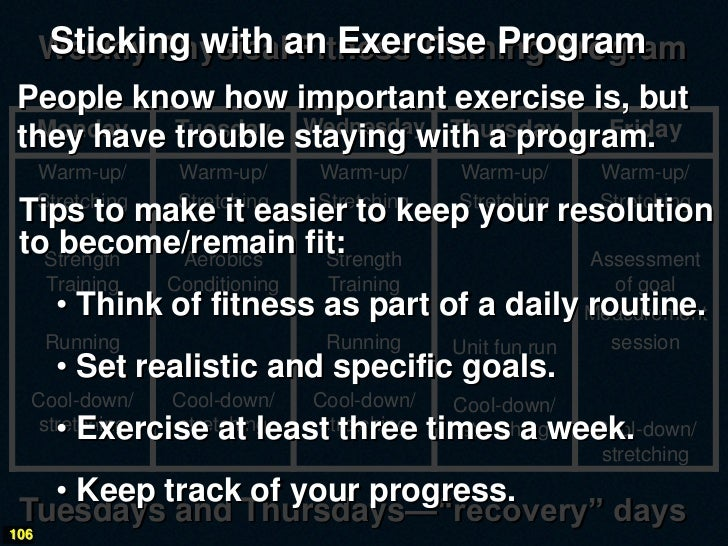 Weekly Physicalan Exercise Program   Sticking with Fitness Training Program People know how important exercise is, but  Mo...