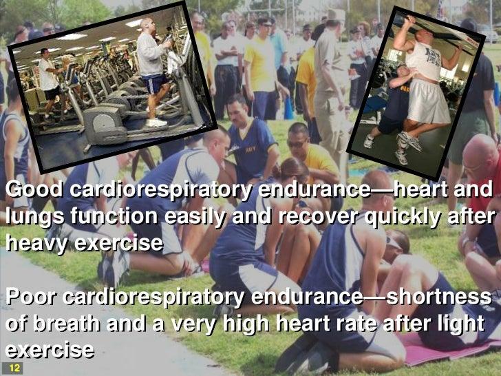 Good cardiorespiratory endurance—heart andlungs function easily and recover quickly afterheavy exercisePoor cardiorespirat...