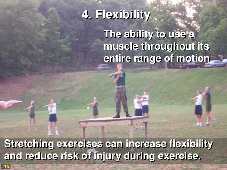 4. Flexibility                     The ability to use a                     muscle throughout its                     enti...