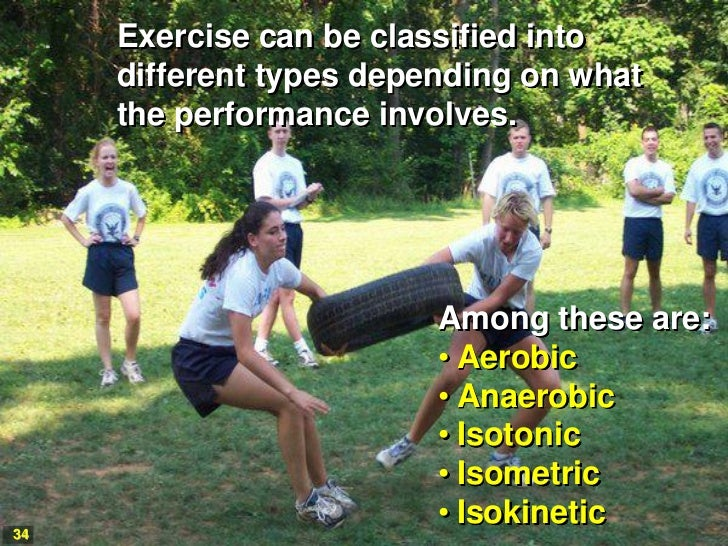 Exercise can be classified into     different types depending on what     the performance involves.                       ...
