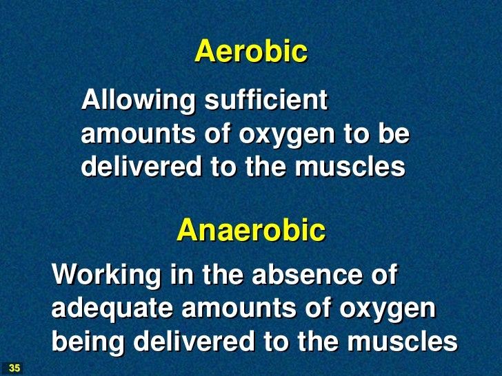 Aerobic       Allowing sufficient       amounts of oxygen to be       delivered to the muscles              Anaerobic     ...