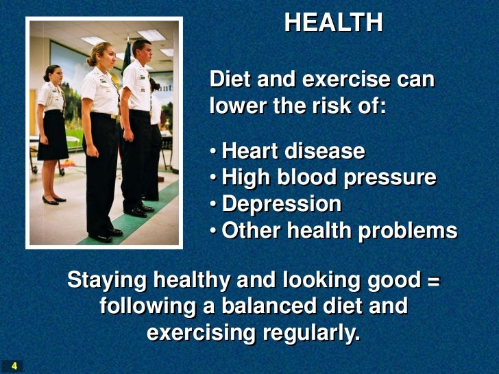 HEALTH                Diet and exercise can                lower the risk of:                • Heart disease              ...