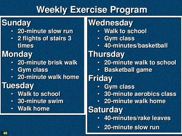 Weekly Exercise ProgramSunday                         Wednesday     • 20-minute slow run        • Walk to school     • 2 f...