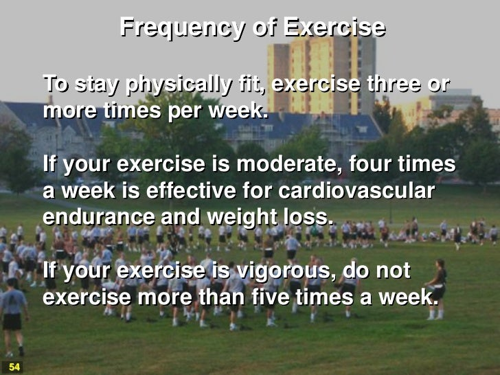 Frequency of Exercise     To stay physically fit, exercise three or     more times per week.     If your exercise is moder...