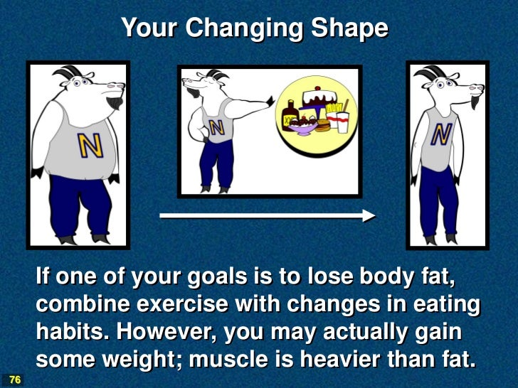 Your Changing Shape     If one of your goals is to lose body fat,     combine exercise with changes in eating     habits. ...