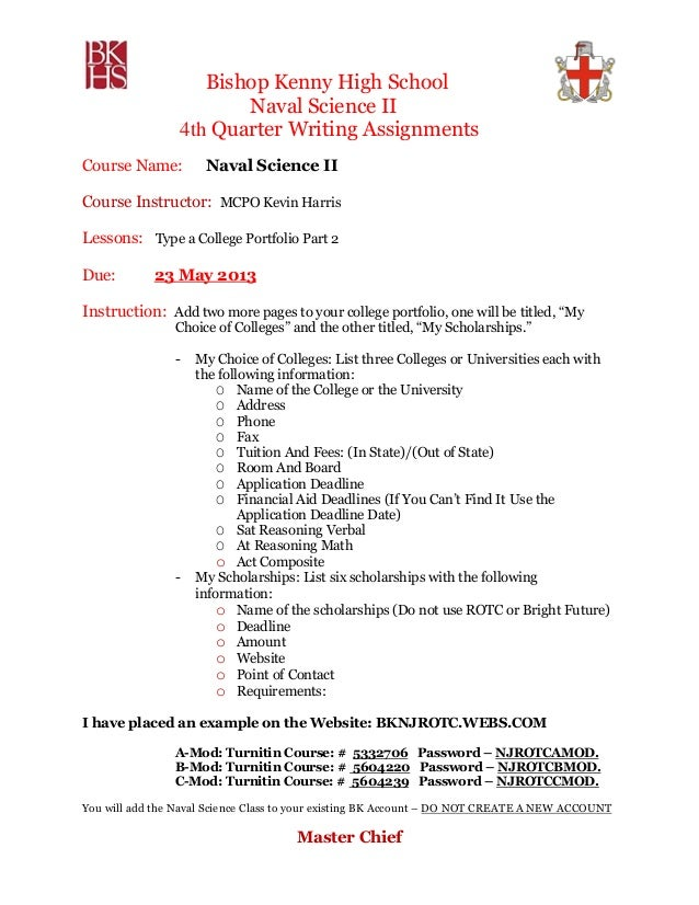 Bishop Kenny High SchoolNaval Science II4th Quarter Writing AssignmentsCourse Name: Naval Science IICourse Instructor: MCP...