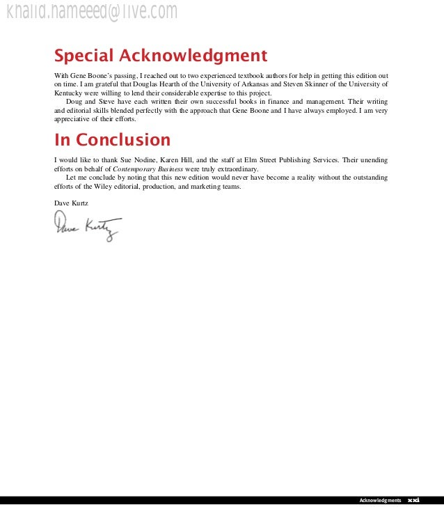 Contemporary business 13th edition 19 special acknowledgment with gene boones fandeluxe Choice Image